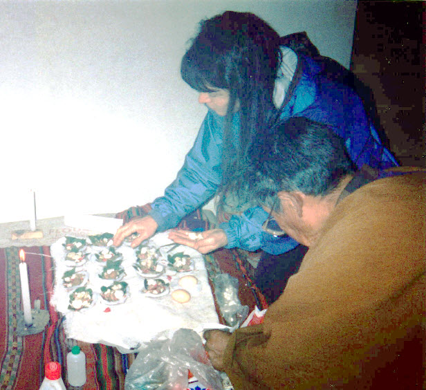 Bolivia Shaman Preparing Sacred Ceremony with Linda