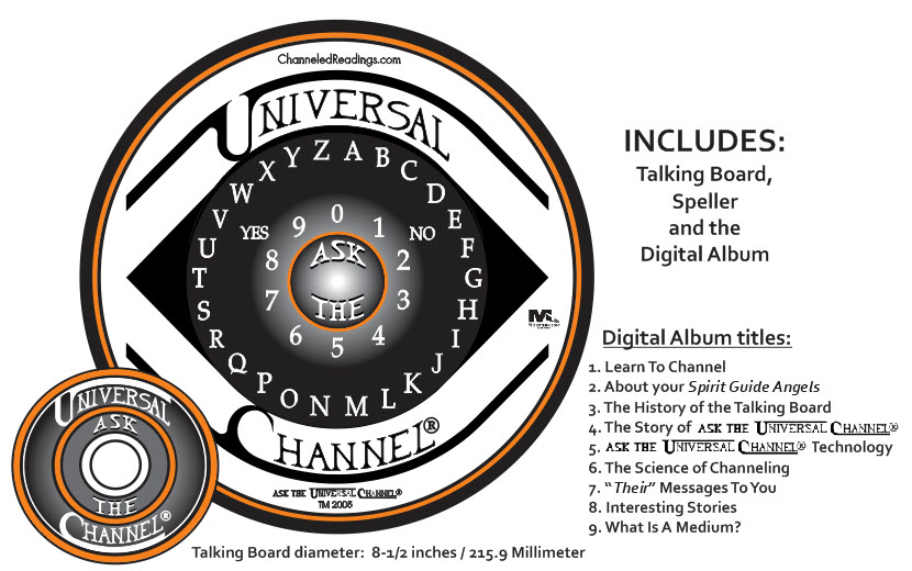 THE OFFICIAL Ask The Universal Channel® talking board set and Digital Album, by Channeled Readings, LLC