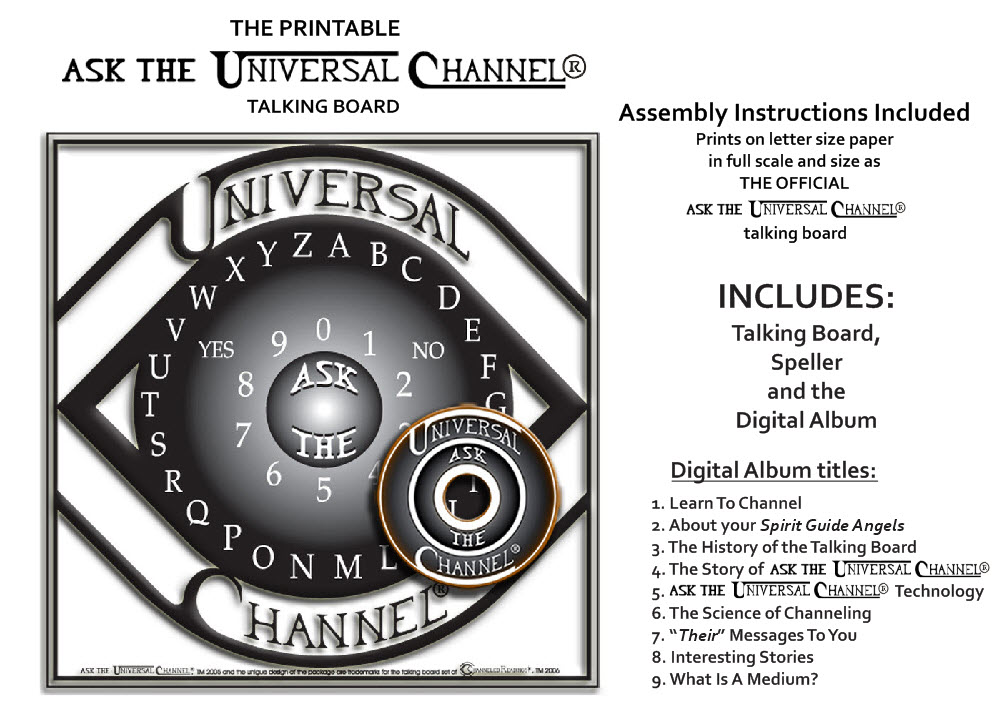 Printable Ask The Universal Channel® talking board and Digital Album, by Channeled Readings, LLC